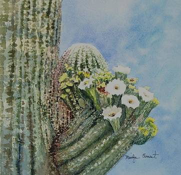 Saguaro in Bloom by Marilyn  Clement