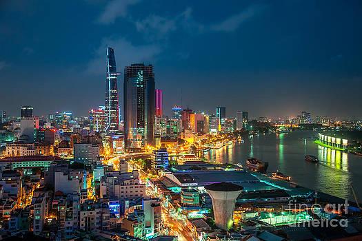 Saigon Aerial Night Skyline by Fototrav Print