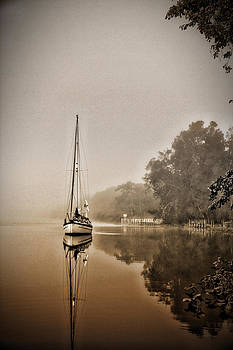 Sailbaot in the fog by Dale Conyers