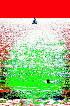 Sailboat and Swimmer -- 2a by Brian D Meredith