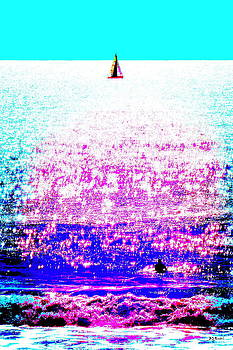 Sailboat and Swimmer -- 2d by Brian D Meredith