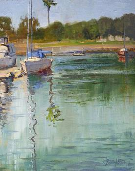Sailboat at the End of the Dock by Sharon Weaver