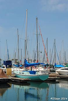 Sailboat in Long Beach Marina by Jill Baum