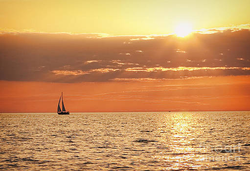 Sailboat In The Sunset on Lake Erie by Sharon Dominick