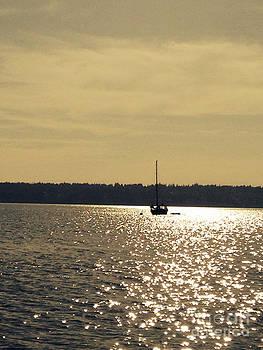 LeLa Becker - Sailboat on golden waters