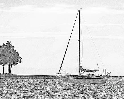 Sailboat - pencil by Bren Thompson