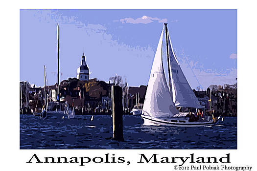 Sailboat Sailing in Annapolis by Paul Pobiak