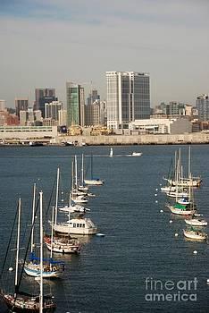 Sailboats at the San Diego Bay by Claudia Ellis