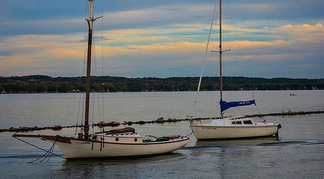 Sailboats in the Harbor by John Baumgartner