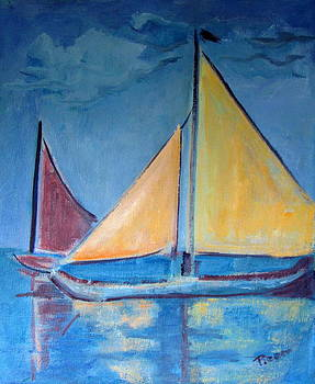 Betty Pieper - Sailboats with Red and Yellow Sails