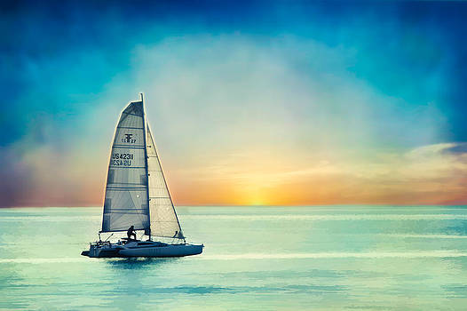Sailing at Sunset by Donna Tomlin