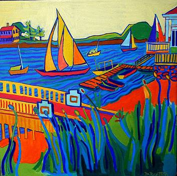 Sailing at Tucks Point Manchester by the sea by Debra Bretton Robinson