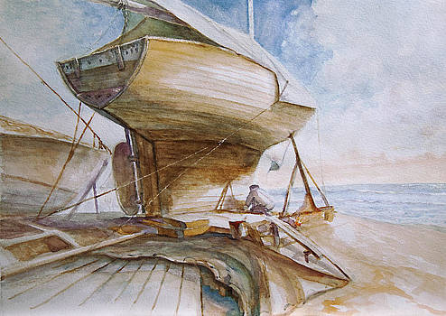 Sailing boat preparing by Timo Luomanpera