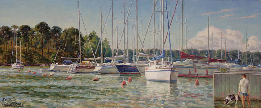 Sailing boats in harbor by Serguei Zlenko