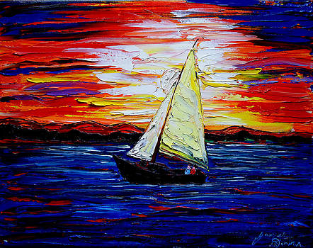 Sailing By Mid-Night 1 by Portland Art Creations
