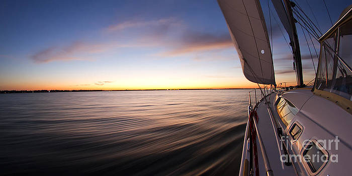 Sailing Sunset Beneteau 49 Sailboat by Dustin K Ryan