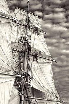 Cliff Wassmann - Sailors in rigging of tall ship