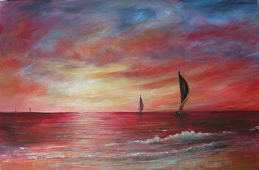 Sails in the Sunset by Rita Palm