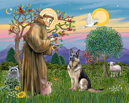 Saint Francis Blesses a German Shepherd by Jean Fitzgerald