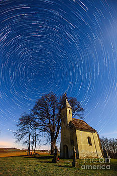 Saint Heleina Chapel with star trail Hungary by Gabor Pozsgai
