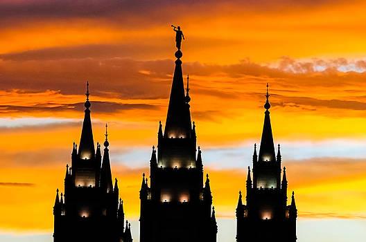 Salt Lake City Temple Sunset by Kirk Strickland