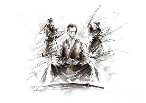 Samurai meditation. by Mariusz Szmerdt