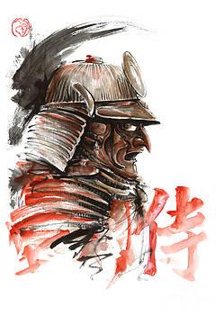 Samurai warrior  tengu mask  japanese calligraphy. by Mariusz Szmerdt
