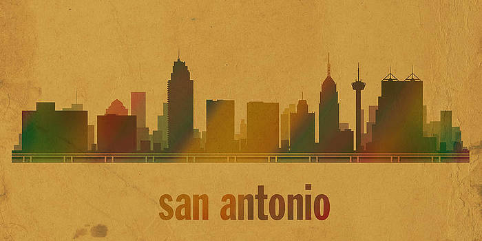 Design Turnpike - San Antonio Texas City Skyline Watercolor On Parchment