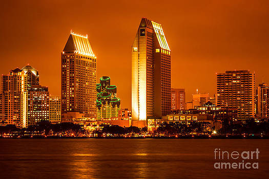 Paul Velgos - San Diego Skyline at Night along San Diego Bay
