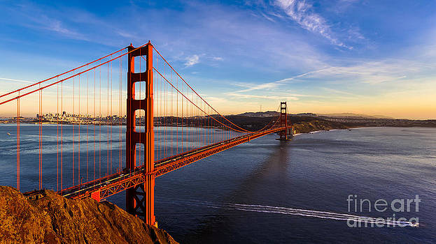 San Francisco Golden Gate Bridge at Sunset by Engel Ching