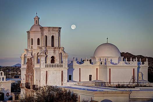 San Xavier Del Bac at Moonset 2 by J Gregory Sherman