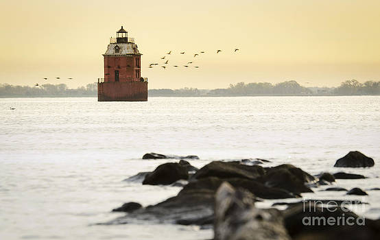 Sandy Point Lighthouse at Sunrise by Brycia James