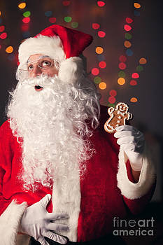 Santa Claus Excited To Eat Gingerbread Cookie by Sharon Dominick