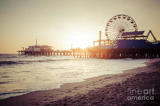 Santa Monica Pier Retro Sunset Picture by Paul Velgos
