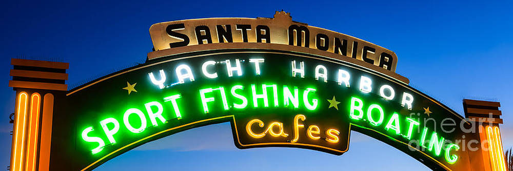 Paul Velgos - Santa Monica Pier Sign Panorama Picture