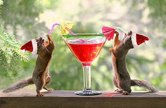 Peggy Collins - Santa Squirrels Celebrating Christmas