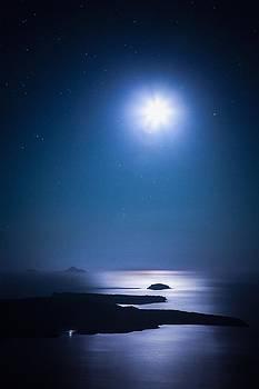 Santorini Caldera in the Moonlight by Bjoern Kindler