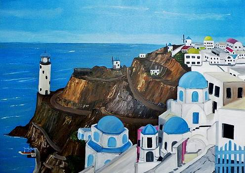 Santorini where the Greek Flag Reigns by Donald Schrier