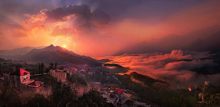 Sapa Town  Vietnam by Weerapong Chaipuck