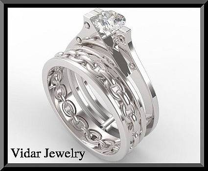 Sapphire Handcuff 14k White Gold Wedding Ring And Engagement Ring Set by Roi Avidar