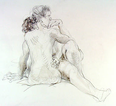 Sara and Crystal embracing by Andy Gordon