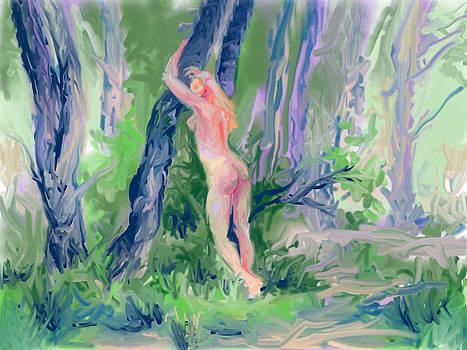 Sara Leaning Against Tree  by Lynn T Bright