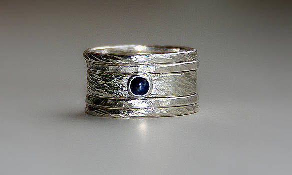 Sarah rustic wedding set with blue sapphire in sterling silver stackable rings saphire engagement  by Nadina Giurgiu