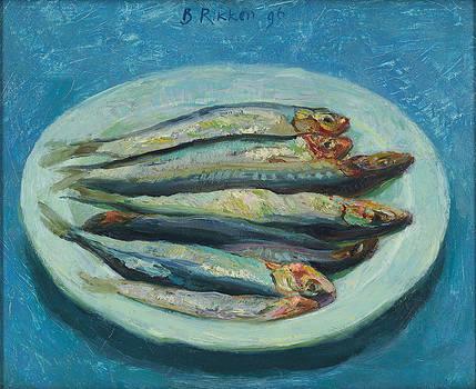 Sardines On A White Plate by Ben Rikken