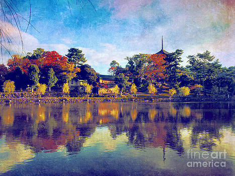 Beverly Claire Kaiya - Sarusawa Pond and Five-Storied Pagoda at Kofuku-ji in Nara Japan