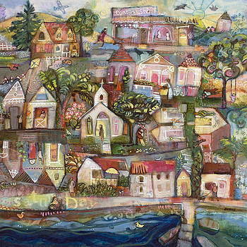 Saturday Beach Town Folk Landscape by Jen Norton
