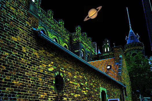 LAWRENCE CHRISTOPHER - SATURN OVER PABST BREWERY FANTASY IMAGE OF ABANDONED HOME OF BLUE RIBBOB BEER FROM 1860