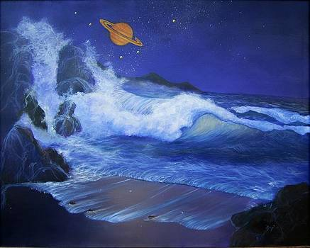 Saturn Rising Seascape by Maggie  Cabral