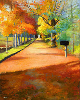 Catherine Twomey - Sawmill Road Autumn Vermont Landscape