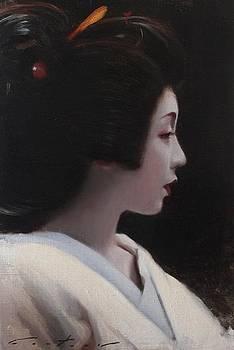 Sayaka - geisha painting by Phil Couture